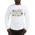 Cute Cartoon Owls and flowers Long Sleeve T-Shirt
