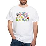 Cute Cartoon Owls and flowers White T-Shirt