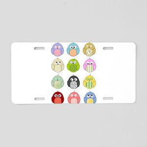 Cute Owls Aluminum License Plate