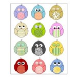 Cute Owls Small Poster