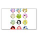 Cute Owls Sticker (Rectangle 10 pk)