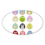 Cute Owls Sticker (Oval 50 pk)