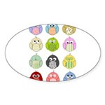 Cute Owls Sticker (Oval)