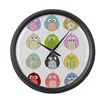 Cute Owls Large Wall Clock