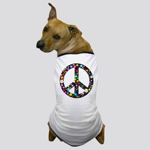 Hippie Flowery Peace Sign Dog T-Shirt