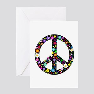 Hippie Flowery Peace Sign Greeting Card