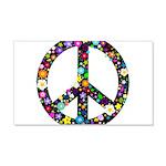 Hippie Flowery Peace Sign 22x14 Wall Peel