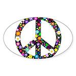 Hippie Flowery Peace Sign Sticker (Oval 50 pk)