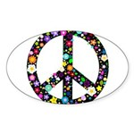Hippie Flowery Peace Sign Sticker (Oval 10 pk)
