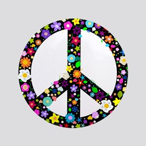 "Hippie Flowery Peace Sign 3.5"" Button"