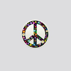 Hippie Flowery Peace Sign Mini Button