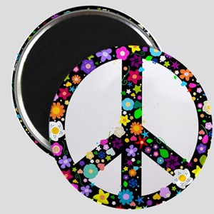 Hippie Flowery Peace Sign Magnet