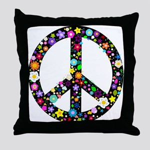 Hippie Flowery Peace Sign Throw Pillow