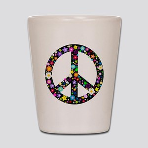 Hippie Flowery Peace Sign Shot Glass
