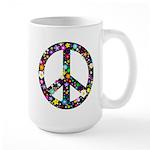 Hippie Flowery Peace Sign Large Mug