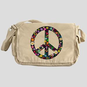 Hippie Flowery Peace Sign Messenger Bag