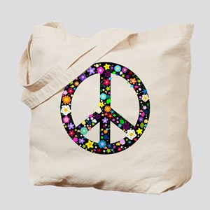 Hippie Flowery Peace Sign Tote Bag