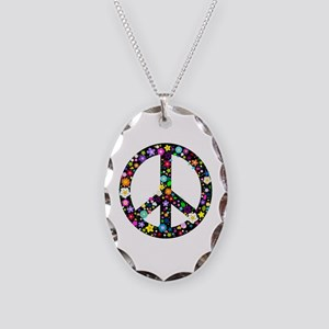 Hippie Flowery Peace Sign Necklace Oval Charm