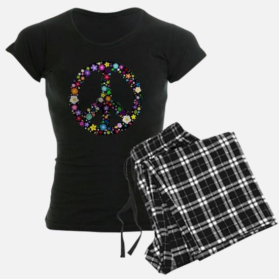 Hippie Flowery Peace Sign Pajamas