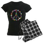 Hippie Flowery Peace Sign Women's Dark Pajamas