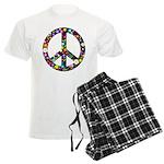 Hippie Flowery Peace Sign Men's Light Pajamas