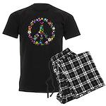 Hippie Flowery Peace Sign Men's Dark Pajamas
