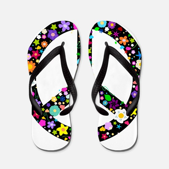 Hippie Flowery Peace Sign Flip Flops