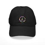 Hippie Flowery Peace Sign Black Cap