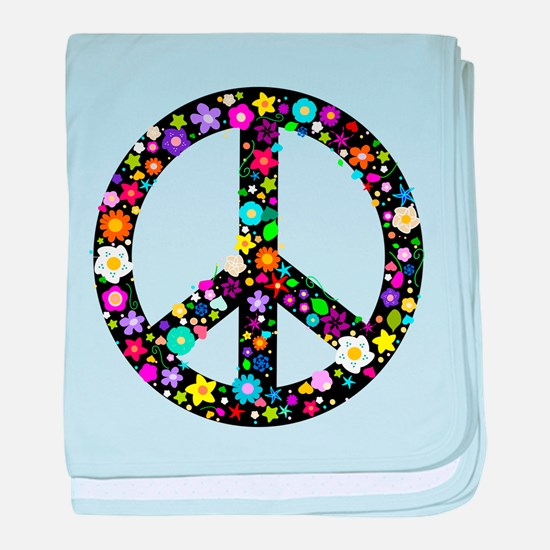 Hippie Flowery Peace Sign baby blanket
