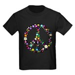 Hippie Flowery Peace Sign Kids Dark T-Shirt