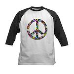 Hippie Flowery Peace Sign Kids Baseball Jersey