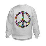 Hippie Flowery Peace Sign Kids Sweatshirt