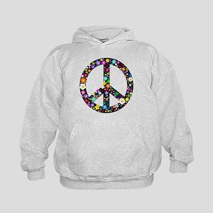 Hippie Flowery Peace Sign Kids Hoodie