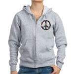 Hippie Flowery Peace Sign Women's Zip Hoodie