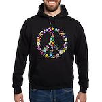 Hippie Flowery Peace Sign Hoodie (dark)