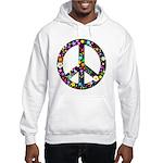 Hippie Flowery Peace Sign Hooded Sweatshirt