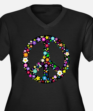 Hippie Flowery Peace Sign Women's Plus Size V-Neck