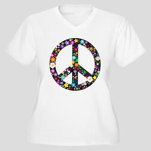Hippie Flowery Peace Sign Women's Plus Size V-Neck