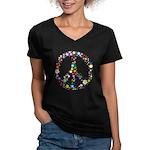 Hippie Flowery Peace Sign Women's V-Neck Dark T-Sh