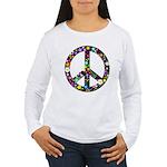Hippie Flowery Peace Sign Women's Long Sleeve T-Sh