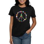 Hippie Flowery Peace Sign Women's Dark T-Shirt