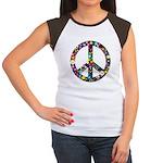 Hippie Flowery Peace Sign Women's Cap Sleeve T-Shi