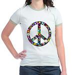 Hippie Flowery Peace Sign Jr. Ringer T-Shirt