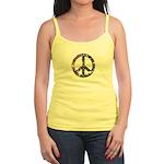 Hippie Flowery Peace Sign Jr. Spaghetti Tank