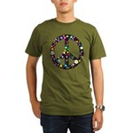 Hippie Flowery Peace Sign Organic Men's T-Shirt (d