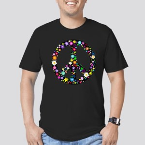 Hippie Flowery Peace Sign Men's Fitted T-Shirt (da
