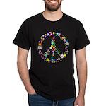Hippie Flowery Peace Sign Dark T-Shirt