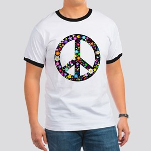 Hippie Flowery Peace Sign Ringer T