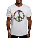 Hippie Flowery Peace Sign Light T-Shirt