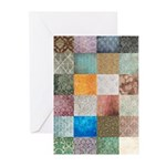 Patchwork Quilt squares patte Greeting Cards (Pk o
